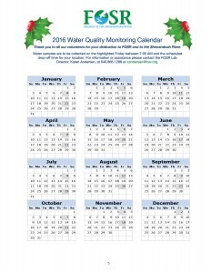 FOSR Monitoring Calendar 2016